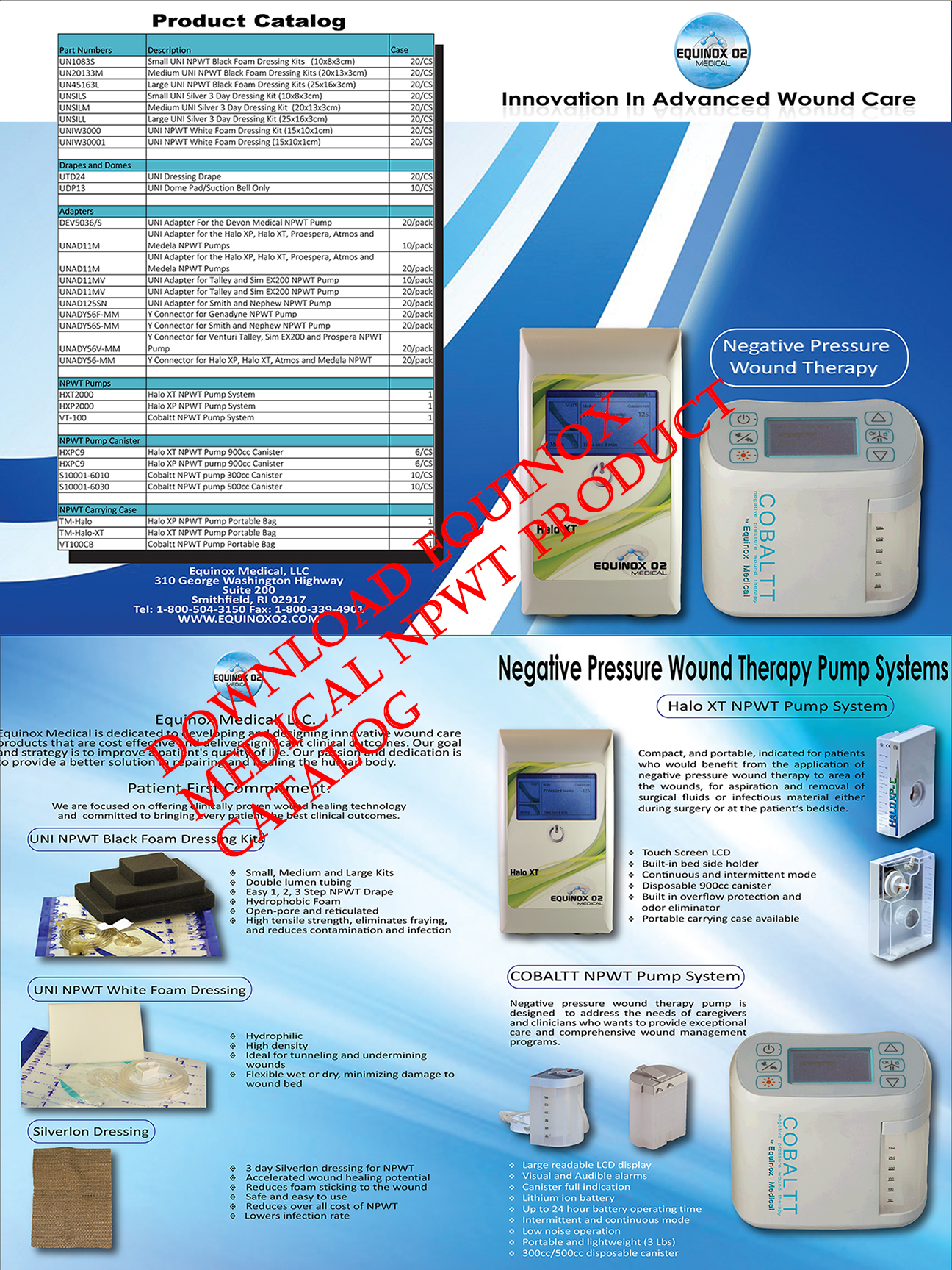 negative pressure wound therapy pump and dressing